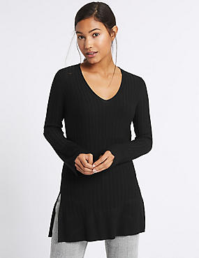 Ribbed Side Spilt V-Neck Tunic Jumper