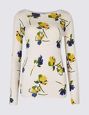 PETITE Floral Print Slash Neck Jumper