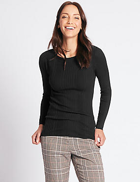 Variegated Ribbed Slash Neck Jumper