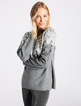 Fairisle Print Turtle Neck Jumper