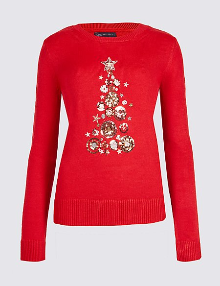 Image result for Embellished Christmas Tree Novelty Jumper