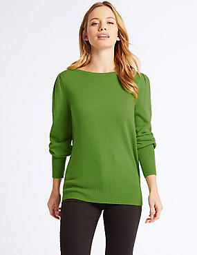 PETITE Ribbed Bubble Sleeve Jumper