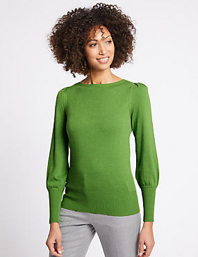 Ribbed Balloon Sleeve Jumper, GREEN, catlanding