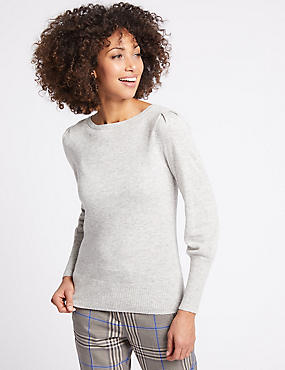 Ribbed Balloon Sleeve Jumper, GREY MARL, catlanding