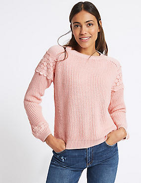Pure Cotton Lace Round Neck Jumper, BLUSH, catlanding