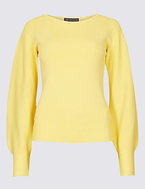 PETITE Balloon Sleeve Slash Neck Jumper
