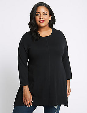 CURVE Ribbed Round Neck Longline Jumper