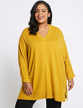 CURVE Knitted V-Neck 3/4 Sleeve Jumper, OCHRE, catlanding