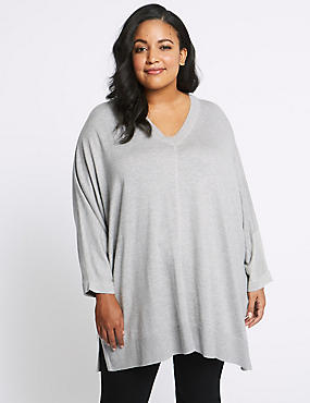 CURVE Knitted V-Neck 3/4 Sleeve Jumper, GREY MARL, catlanding