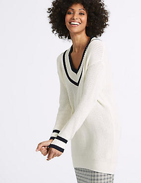 Pure Cotton Textured V-Neck Jumper, WHITE MIX, catlanding