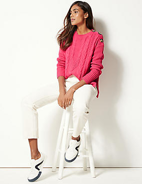Cotton Blend Cable Round Neck Jumper , PINK, catlanding
