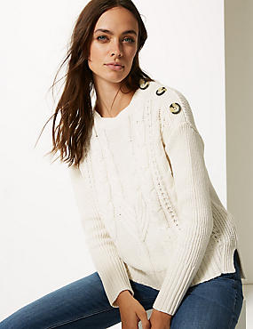 Cotton Blend Cable Round Neck Jumper , CREAM, catlanding