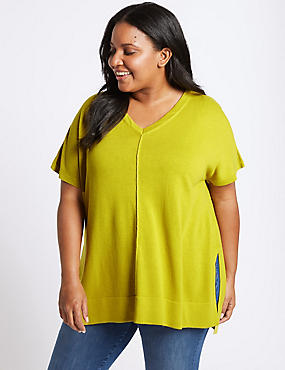 CURVE V-Neck Short Sleeve Jumper, LIME, catlanding
