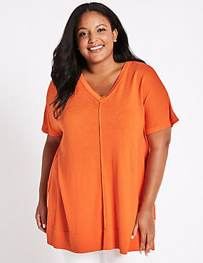 CURVE V-Neck Short Sleeve Jumper, BRIGHT ORANGE, catlanding