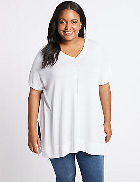 CURVE V-Neck Short Sleeve Jumper, SOFT WHITE, catlanding