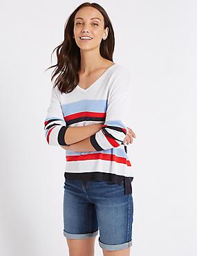 Striped V-Neck Long Sleeve Jumper with Linen, WHITE MIX, catlanding