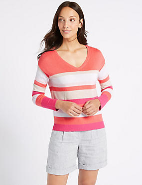 Striped V-Neck Long Sleeve Jumper with Linen, MULTI, catlanding