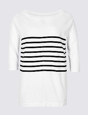 CURVE Pure Cotton Striped Longline Jumper, WHITE MIX, catlanding