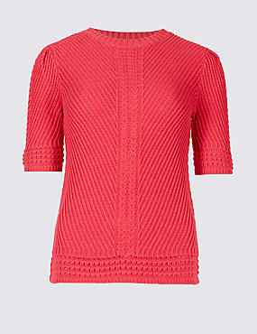 PETITE Pure Cotton Textured Jumper
