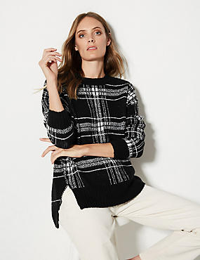 Checked Relaxed Round Neck Jumper , BLACK MIX, catlanding
