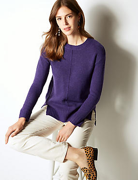 Relaxed Supersoft Round Neck Jumper , PURPLE, catlanding
