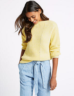 Pure Cotton Cable Knit Slash Neck Jumper, MIMOSA, catlanding