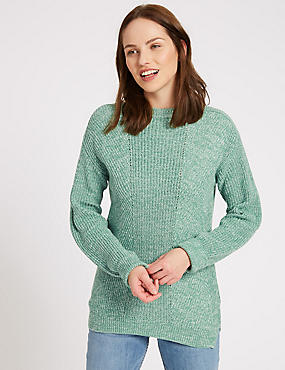 Pure Cotton Cable Knit Slash Neck Jumper, GREEN, catlanding