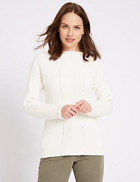 Pure Cotton Cable Knit Slash Neck Jumper, CREAM, catlanding