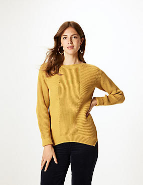 Pure Cotton Cable Knit Slash Neck Jumper, , catlanding
