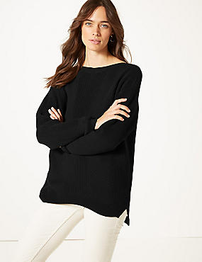 Pure Cotton Cable Knit Slash Neck Jumper, BLACK, catlanding