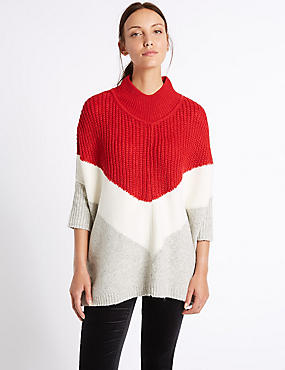 Colour Block Poncho Funnel Neck Jumper