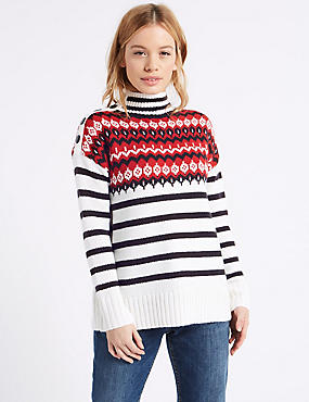 PETITE Fairisle Striped Turtle Neck Jumper