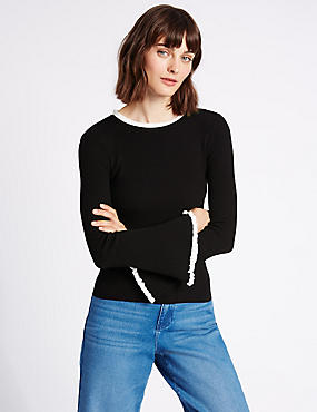 Ribbed Contrasting Edge Round Neck Jumper