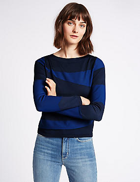 Spliced Textured Round Neck Jumper