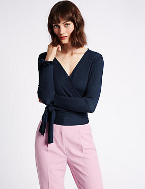 Ribbed Wrap Tie Front V-Neck Cardigan