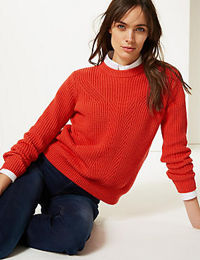 Pure Cotton Textured Jumper , BRIGHT RED, catlanding