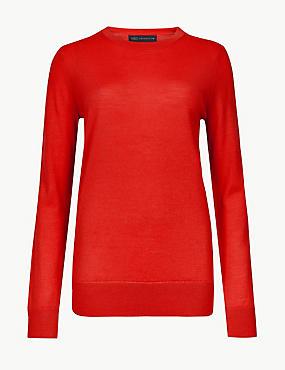 Pure Merino Wool Round Neck Jumper, BRIGHT RED, catlanding