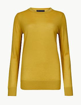 Pure Merino Wool Round Neck Jumper, HONEY, catlanding