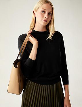 Pure Merino Wool Round Neck Jumper, BLACK, catlanding