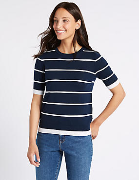 Pure Merino Wool Striped Round Neck Jumper, NAVY MIX, catlanding