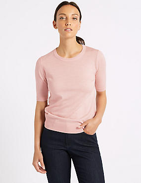 Pure Merino Wool Round Neck Jumper, BUBBLEGUM, catlanding
