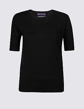Pure Merino Wool Round Neck Jumper, BLACK, catlanding