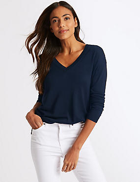 Pure Merino Wool V-Neck Long Sleeve Jumper, NAVY, catlanding