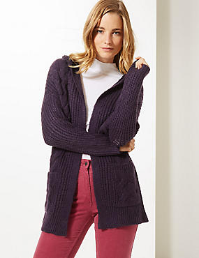 Textured Open Front Cardigan, DEEP PURPLE, catlanding