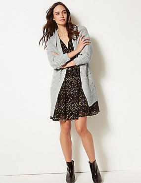 Textured Open Front Cardigan, LIGHT GREY, catlanding