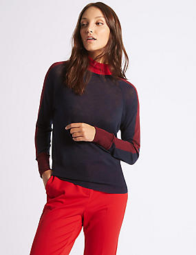 Wool Rich Colour Block Funnel Neck Jumper