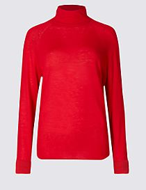 Merino Wool Rich Funnel Neck Jumper