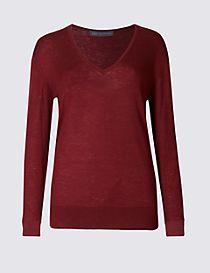 Merino Wool Rich V-Neck Jumper