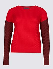 Wool Rich Colour Block Round Neck Jumper