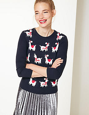 Llamas Round Neck Christmas Jumper, NAVY MIX, catlanding